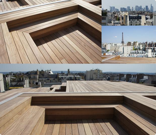 terrasse bois exotique ipe - paris 16eme - toit terrasse