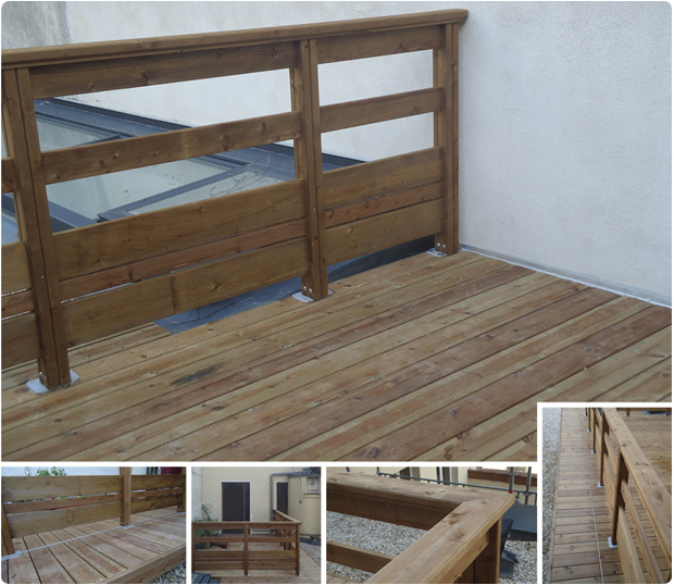 terrasse bois pin brun garde corps paris 15