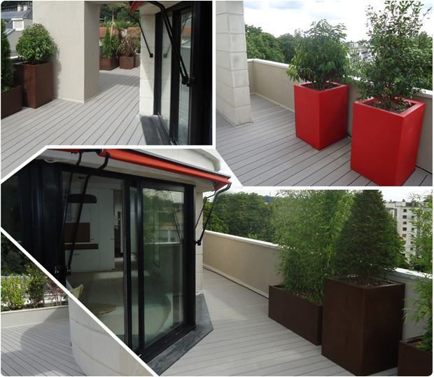 Terrasse en bois exotique ip versailles - Difference balcon terrasse ...
