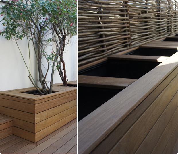bacs en bois intégrés terrasse