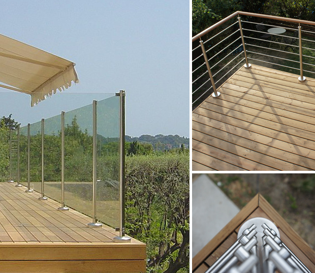 garde-corps - terrasse bois - barrière - protection - chute - inox - bois