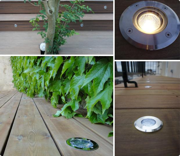spot - LED - éléctrique - solaire - spot encastré - terrasse bois
