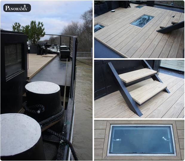terrasse en pin radiata sans noeud sur peniche paris 75016