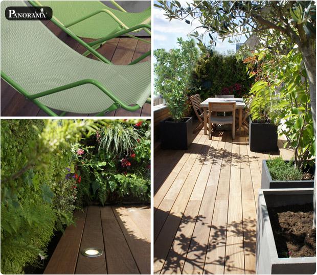 terrasse bois exotique ipé du Brésil profil bombé paris