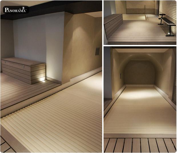Terrasse bois composite plage de piscine paris 17 hotel particulier sous sol eau à 30 degré Timbertech