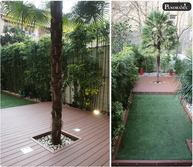 terrasse en bois composite Paris Auteuil 16ème jardin hotel particulier