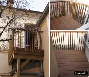 terrasse en bois sur poteaux pilotis autoportée exotqiue Ipé Mesnil le roi 78 yvelines