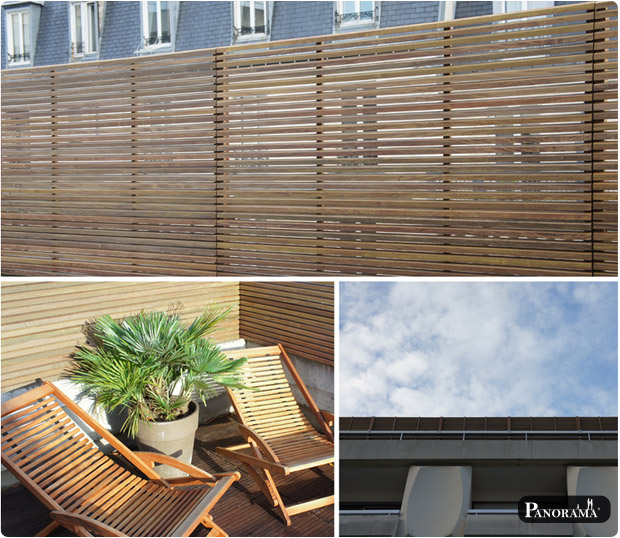 panneaux parevue en bois exotique ipé du brésil claire voie paris