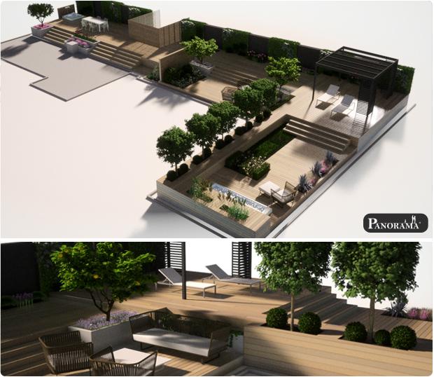 terrasse bois modélisée en 3D paris ipe exotique bureau graphique