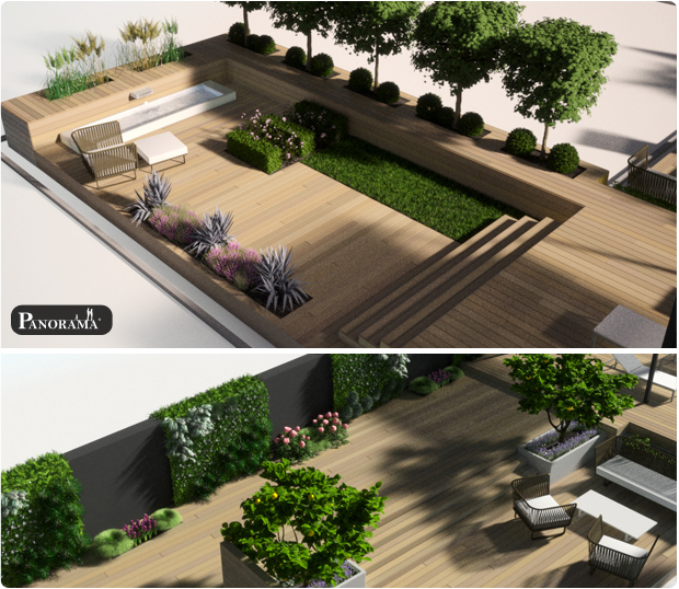 Mod lisation 3d projet paris 75012 2modelisations 3d for Photo amenagement terrasse exterieur