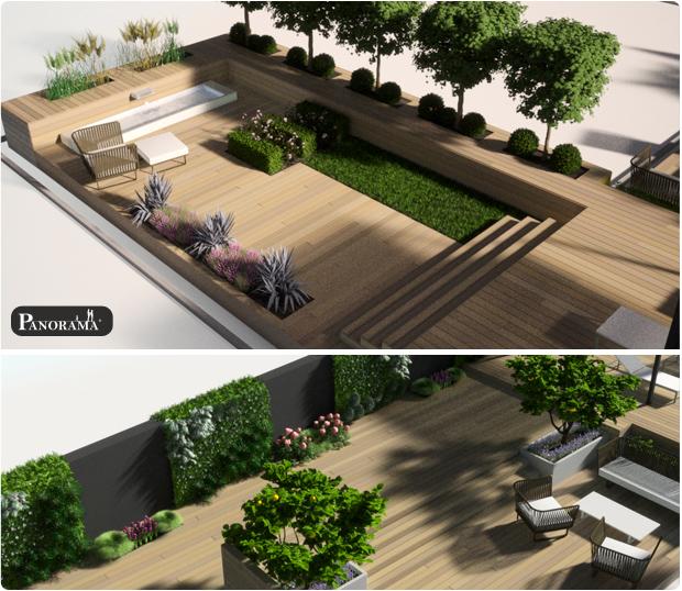 modelisation 3d terrasse bois amenagement exterieur paris