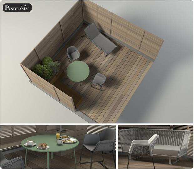 Modélisation 3d d'une terrasse bois à paris