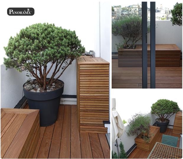 terrasse en ipé à Paris 16 Trocadero banc bac en bois exotique habillage climatisation panorama terrasses