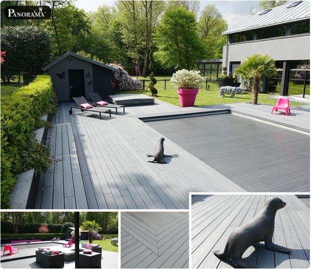terrasse plage de piscine bois composite massif maison moderne gris anthracite panorma terrasses