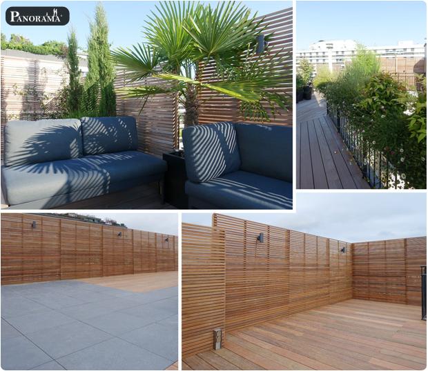 toit terrasse ipe panneaux parevue clairevoie ipe gres cerame vegetaux Paris 16 Trocadero Paris 16