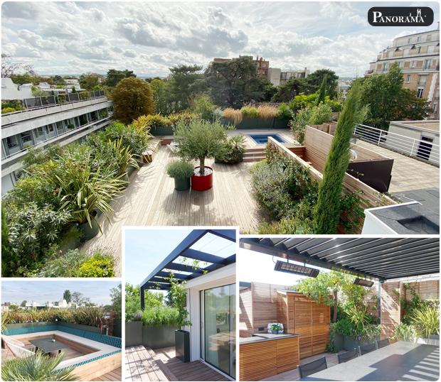 terrasse bois ipe santillane design panorama terrasse roland garros rooftop jacuzzi pergola cabane