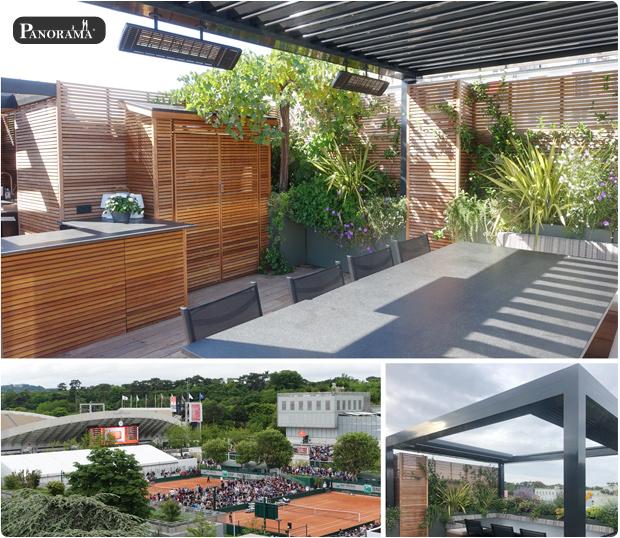 terrasse bois ipe pergola bioclimatique santillane design panorama terrasse roland garros rooftop jacuzzi cabane