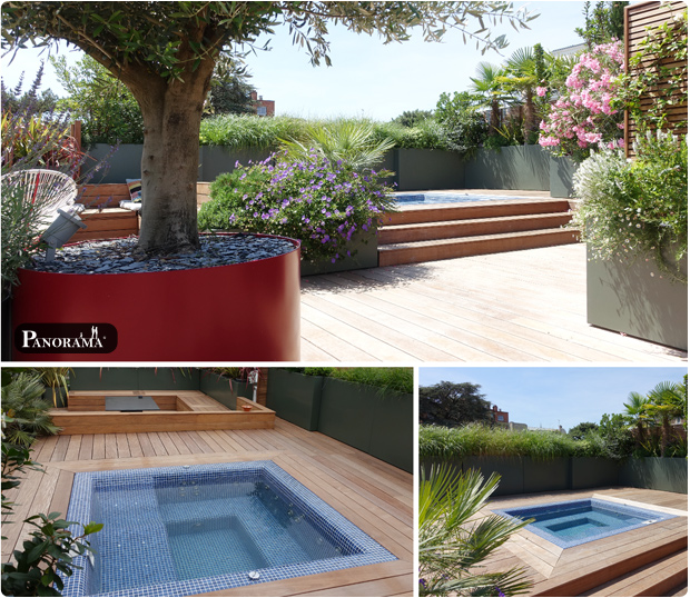 terrasse bois ipe jacuzzi santillane design panorama terrasse roland garros rooftop pergola bioclimatique cabane