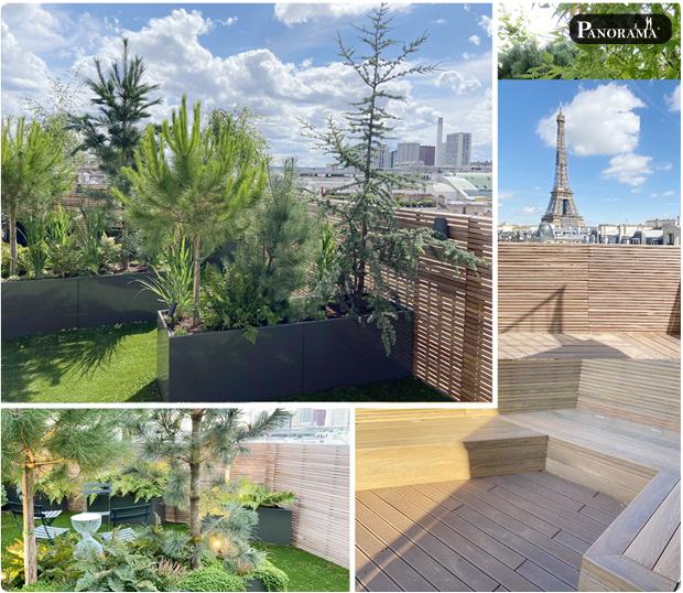 Toit terrasse Gazon synthèse Bac aluminium végétaux Tour Eiffel Panorama