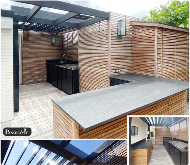cuisine exterieure panneau parvue en ipe pergola bioclimatique panorama terrasse Boulogne