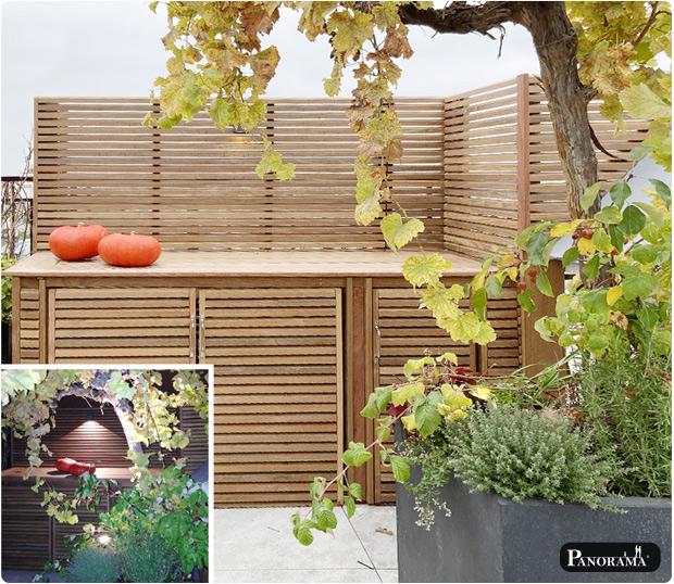 Cuisine exterieure en panneaux parevue en ipe panorama terrasse paris
