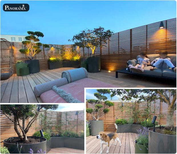 toit terrasse rooftop bois exotique ipe montreuil vegetaux bacs aluminium panorama terrasses